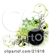 Clipart Picture Illustration Of A Black Spray Circular Text Space With Black And Green Flowers And Vines Over A White Background