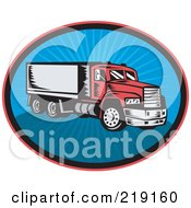 Royalty Free RF Clipart Illustration Of A Retro Red And Blue Big Rig Logo