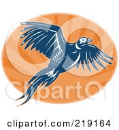 Royalty Free RF Clipart Illustration Of A Blue And Orange Flying Pheasant Logo