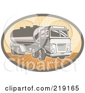 Royalty Free RF Clipart Illustration Of A Retro Orange And Brown Cement Truck Logo by patrimonio
