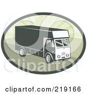 Royalty Free RF Clipart Illustration Of A Retro Green Delivery Van Logo by patrimonio