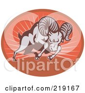 Royalty Free RF Clipart Illustration Of A Charging Ram Logo