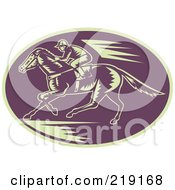 Royalty Free RF Clipart Illustration Of A Retro Purple And Beige Horse Racing Logo
