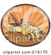 Royalty Free RF Clipart Illustration Of A Retro Yellow And Orange Tow Truck Logo by patrimonio
