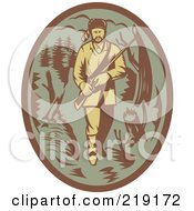Royalty Free RF Clipart Illustration Of A Retro Green And Brown Pioneer Hunter Logo