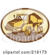 Royalty Free RF Clipart Illustration Of A Retro Yellow And Brown Dump Truck Logo