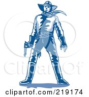 Royalty Free RF Clipart Illustration Of A Sketched Blue Cowboy Standing With A Gun