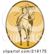 Royalty Free RF Clipart Illustration Of A Retro Brown And Orange Horse Racing Logo