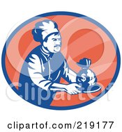 Royalty Free RF Clipart Illustration Of A Retro Blue And Red Chef Serving Money Logo by patrimonio