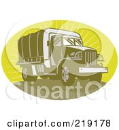 Royalty Free RF Clipart Illustration Of A Retro Green Army Truck Logo