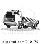 Royalty Free RF Clipart Illustration Of A Retro Black And White Big Rig Truck