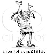 Sketched Dwarf Holding His Arms Up