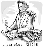 Royalty Free RF Clipart Illustration Of A Sketched Man Signing Documents At His Desk