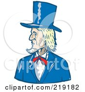 Royalty Free RF Clipart Illustration Of A Sketched Blond Man In A Blue Top Hat