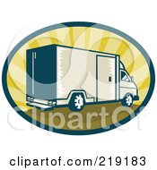 Royalty Free RF Clipart Illustration Of A Retro Tan And Green Delivery Van Logo by patrimonio