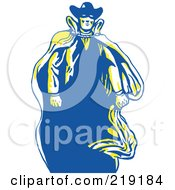 Royalty Free RF Clipart Illustration Of A Sketched Masked Cowboy With A Cape