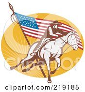 Royalty Free RF Clipart Illustration Of A Retro Rodeo Cowboy And American Flag Logo