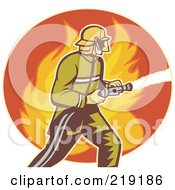 Royalty Free RF Clipart Illustration Of A Retro Fireman With A Hose Logo 2