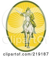 Royalty Free RF Clipart Illustration Of A Retro Yellow And Green Cavalry Logo