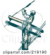 Royalty Free RF Clipart Illustration Of A Sketched Lineman Working On A Pole