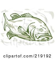 Royalty Free RF Clipart Illustration Of A Green Largemouth Bass From The Front Side