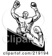 Royalty Free RF Clipart Illustration Of A Sketched Victorious Boxer Over His Opponent