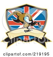 Royalty Free RF Clipart Illustration Of A Retro Rugby Kiwi Bird Logo 4 by patrimonio