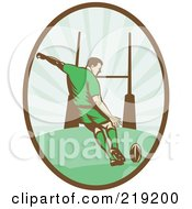 Royalty Free RF Clipart Illustration Of A Retro Rugby Football Player Logo 1