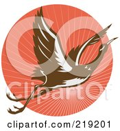 Royalty Free RF Clipart Illustration Of A Flying Heron Logo On A Red Circle by patrimonio