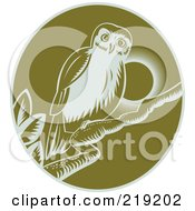 Royalty Free RF Clipart Illustration Of A Green And White Perched Owl Logo by patrimonio