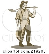Royalty Free RF Clipart Illustration Of A Retro Miner Carrying A Shovel Over His Shoulder by patrimonio