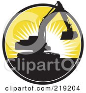 Royalty Free RF Clipart Illustration Of A Black And Yellow Excavator Logo by patrimonio