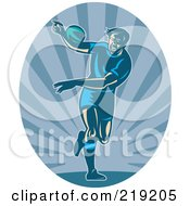 Royalty Free RF Clipart Illustration Of A Retro Rugby Football Player Logo 3