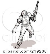Royalty Free RF Clipart Illustration Of A Sketched Soldier Running With A Rifle