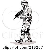 Royalty Free RF Clipart Illustration Of A Sketched Soldier Walking With A Wepon In Arm