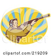 Royalty Free RF Clipart Illustration Of A Retro Blue And Yellow Hunter Logo