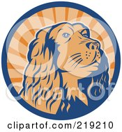 Royalty Free RF Clipart Illustration Of A Blue And Orange Cocker Spaniel Logo