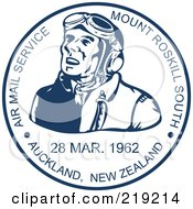 Royalty Free RF Clipart Illustration Of A Blue And White Pilot Mail Stamp Design by patrimonio