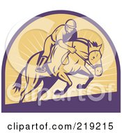 Royalty Free RF Clipart Illustration Of A Retro Purple And Yellow Horse Racing Logo