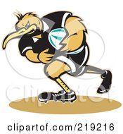 Royalty Free RF Clipart Illustration Of A Kiwi Bird Rugby Player by patrimonio