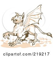 Royalty Free RF Clipart Illustration Of A Sketched Griffin Walking by patrimonio