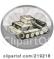 Royalty Free RF Clipart Illustration Of A Retro Tan And Gray Military Tank Logo by patrimonio