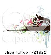 Clipart Picture Illustration Of A Brown Text Box With Blue Brown Pink And Green Splatters Flowers And Vines On A White Background