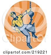 Retro Construction Worker Logo And Hook