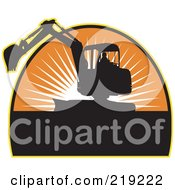 Royalty Free RF Clipart Illustration Of A Black And Orange Excavator Logo by patrimonio