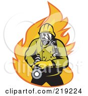 Royalty Free RF Clipart Illustration Of A Retro Fireman With A Hose Logo 1