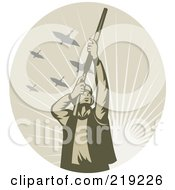 Royalty Free RF Clipart Illustration Of A Retro Tan Hunter Logo