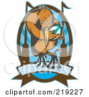 Royalty Free RF Clipart Illustration Of A Retro Rugby Kiwi Bird Logo 3 by patrimonio