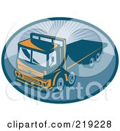 Royalty Free RF Clipart Illustration Of A Orange And Blue Flatbed Big Rig Logo