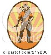 Royalty Free RF Clipart Illustration Of A Retro Miner Man Logo 2 by patrimonio